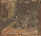 Un uomo in ginocchio  e uno a letto, con la gamba malata, invocano l'aiuto della Madonna.