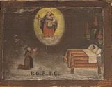 Donna, al capezzale del figlio malato, invoca l'intervento della Madonna. -P.G.R. - P.G..  - primi XIX sec.