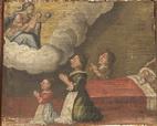 Padre, madre e figlia in ginocchio presso il letto di due figli ammalati, invocano l'intervento di Maria. - XVIII sec.