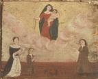Una famiglia in ginocchio, orante, invoca la Vergine Maria. -P.G.R. - XIX sec.