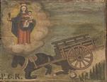 Un uomo travolto dal carro con cavallo è salvato dalla Madonna. - P.G.R. - 1850