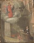 Una donna in ginocchio e un uomo in piedi, invocano la  Madonna  P.G.R. 1778  - 1778