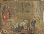 Un uomo in ginocchio sulla sedia,invoca la Madonna per la guarigione del figlio - P.G.R.