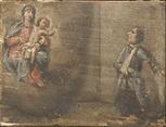Un uomo, ferito al braccio, in ginocchio chiede la grazia alla Madonna.