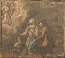 Una famiglia in ginocchio invoca la Madonna.