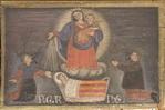 Padre e madre in ginocchio assistono la figlia ammalata nella culla invocando la Vergine.