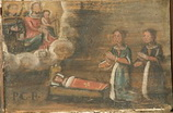 Due donne, inginocchiate presso la culla di un bimbo malato, chiedono l'intercessione di Maria e di S. Antonio.