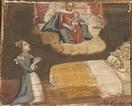 Donna, al capezzale del figlio malato, invoca l'intervento della Madonna.